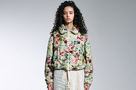 s/e/o - Floral Multi Fur Jacket : Yellow Green